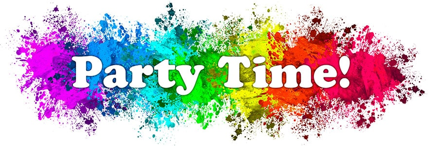 Party Time banner in bright colours